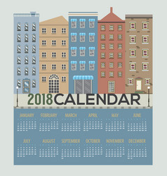 2018 buildings cityscape flat design calendar vector