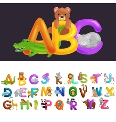 Abc animal letters for school or kindergarten vector