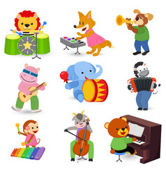 Animal music animalistic character musician vector