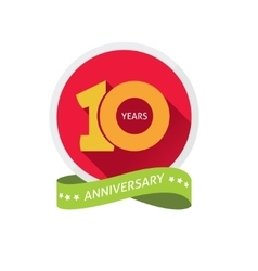 Anniversary 10th label with shadow on circle vector