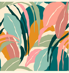 Artistic seamless pattern with abstract leaves vector