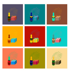 Assembly flat fireworks champagne gift vector