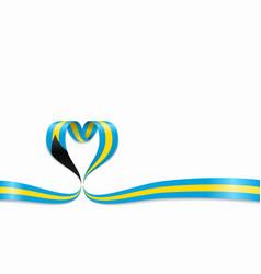 bahamas flag heart-shaped ribbon vector image