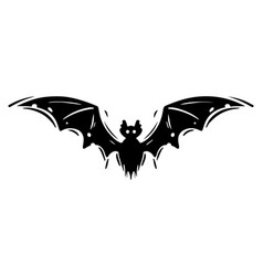 Bat with spread wings hand drawn silhouette vector