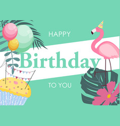 birthday card with flamingo balloons and palm vector image