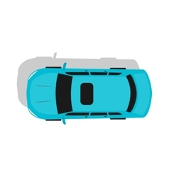 Blue Car Top View Flat Design vector image