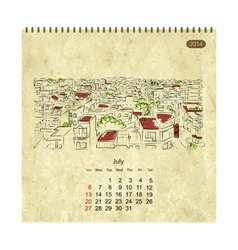 Calendar 2014 july Streets of the city sketch for vector