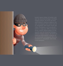 Cartoon 3d criminal thief character flashlight vector