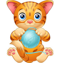 Cartoon baby cat playing with ball of blue yarn vector
