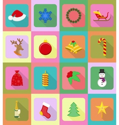 Christmas and new year flat icons 20 vector