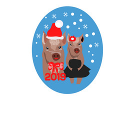 christmas card portrait of the pink pig in a vector image