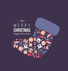 christmas holiday felt boot with doodles style vector image