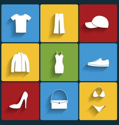Clothes flat icons set vector