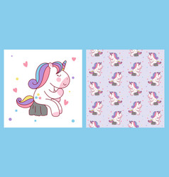 cute cartoon unicorn sitting on stone like a vector image