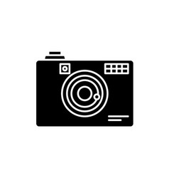 digital camera black icon sign on isolated vector image