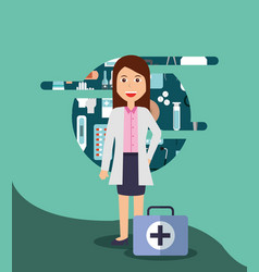 doctor female medical hospital work vector image