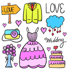 doodle of wedding style collection stock vector image