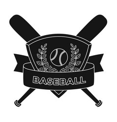 emblem baseball single icon in black style vector image
