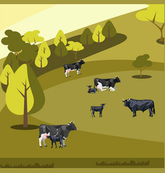 Farm flat landscape with cows vector