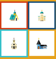 flat icon building set of religious christian vector image