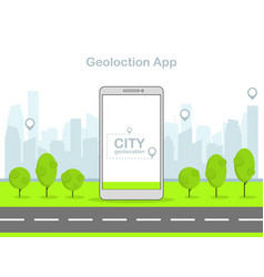 flat linear mobile geolocation app vector image