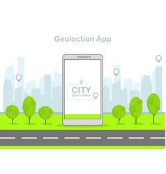 Flat linear mobile geolocation app vector