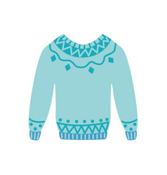 flat warm knitted wool sweater pullover vector image