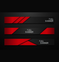 Full banners set black and red vector