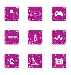 Game simulator icons set grunge style vector