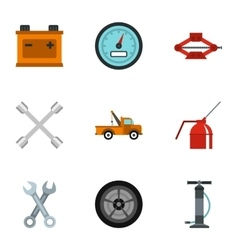 Garage icons set flat style vector