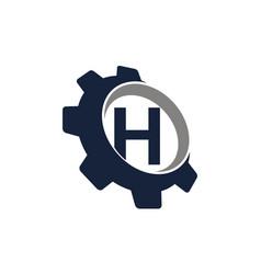 Gear logo letter h vector