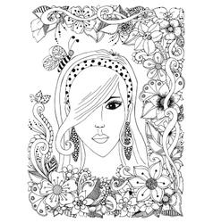 girl with Asian zentangl bee vector image