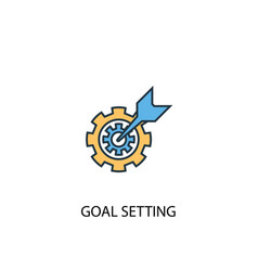 goal setting concept 2 colored line icon simple vector image