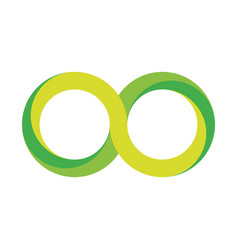 Green infinity symbol icon 3d-like gradient vector