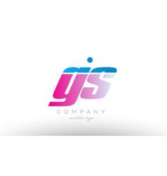 gs g s alphabet letter combination pink blue bold vector image