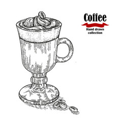 Hand drawn coffee cup isolated on white vector