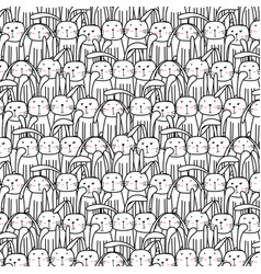 hand drawn cute bunnies pattern vector image
