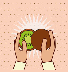 hand holding fresh fruit kiwi vector image