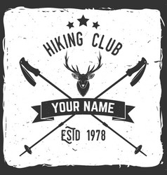hiking club badge with trekking poles vector image