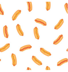 Hot dogs with sausage tomato ketchup and mustard vector