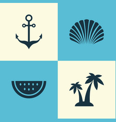 Hot icons set collection of trees melon vector