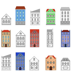 houses set european old buildings vector image