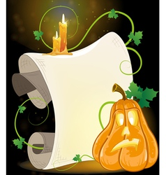 Jack o lantern parchment and burning candles vector