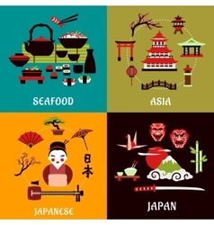Japanese culture history and cuisine designs vector image