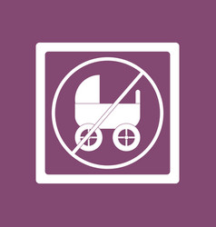 K icon on background strollers not allowed vector