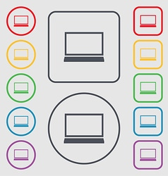 Laptop sign icon Notebook pc symbol Symbols on the vector image