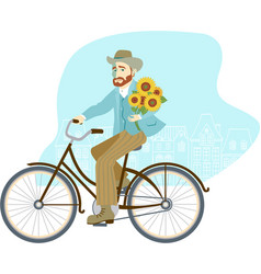 man riding vintage bike with bunch sunflowers vector image