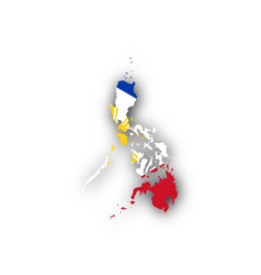 Map and flag of the philippines vector