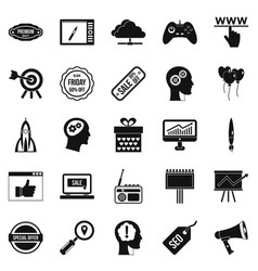 Media center icons set simple style vector