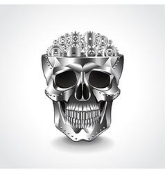 Metal skull brain from gears vector